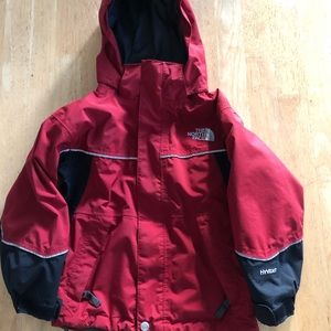 The North Face HiVent jacket hood boys red gray XS